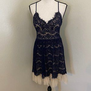 Trixxi Med Navy Blue Sheer Lace Dress w/ Lining